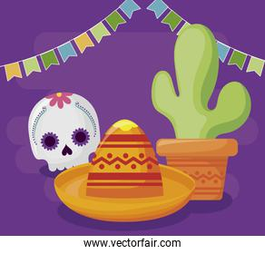 viva mexico celebration with skull death and hat