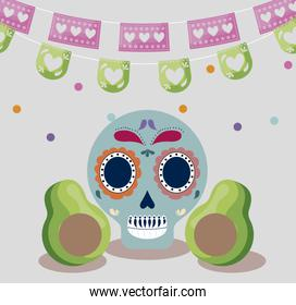 viva mexico celebration with skull and avocados