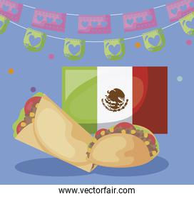 viva mexico celebration with flag and food