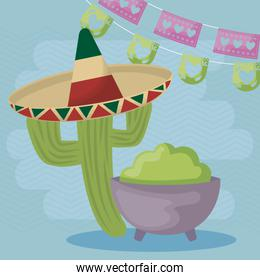 viva mexico celebration with cactus and guacamole