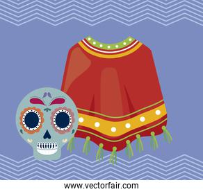 viva mexico celebration with poncho traditional and skull