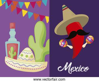 set of viva mexico celebration with chili pepper and icons