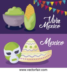 set of viva mexico celebration with hat and icons