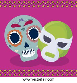 viva mexico celebration with skull and mask fighter