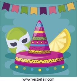 viva mexico celebration with hat and mask fighter