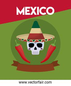 viva mexico celebration with skull and chili peppers