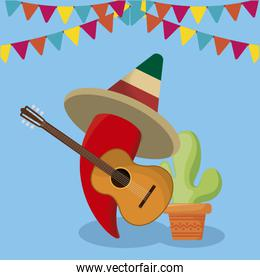 viva mexico celebration with chili pepper and guitar