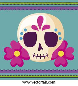viva mexico celebration with skull with flowers