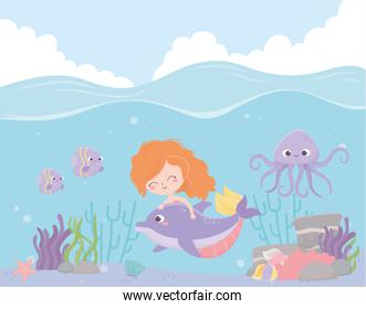 mermaid with dolphin octopus fishes coral cartoon under the sea
