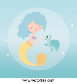 mermaid and turtle bubbles cartoon under the sea