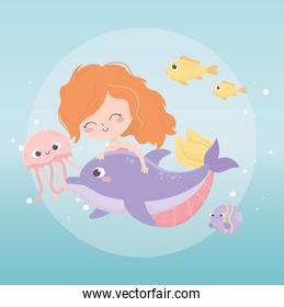 mermaid jelyfish fishes bubbles cartoon under the sea