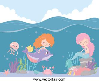 mermaids jellyfish crab starfish coral cartoon under the sea