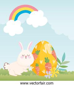 happy easter white bunny egg painting with carrots in grass