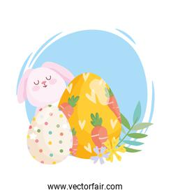 happy easter white bunny egg painted with carrots and dotted egg flowers decoration