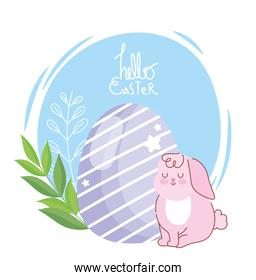 happy easter pink rabbit sitting with egg decoration