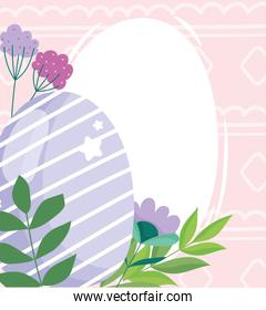 happy easter purple striped egg flowers foliage decoration