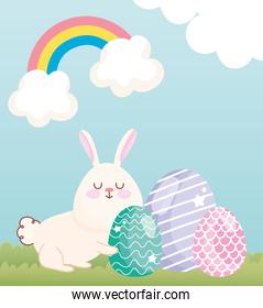 happy easter adorable bunny with eggs grass rainbow clouds