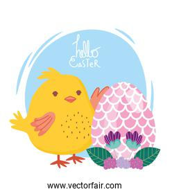 happy easter chicken with egg flowers leaves decoration