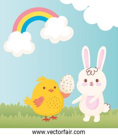 happy easter chicken with egg and rabbit grass rainbow decoration