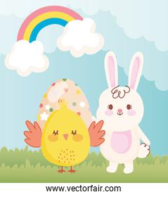 happy easter chicken and rabbit with dotted egg in grass