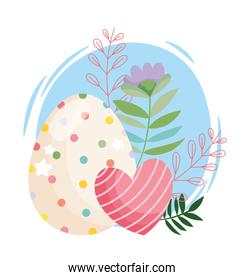 happy easter beauty egg with dots and striped heart flowers decoration