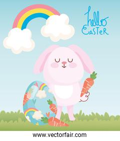 happy easter pink rabbit with carrots and painted eggs rainbow decoration
