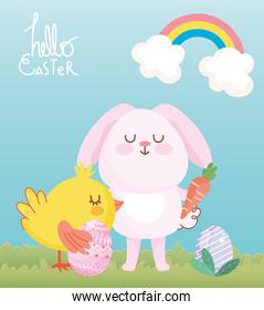 happy easter pink bunny chicken with eggs carrot clouds grass