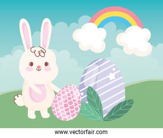 happy easter day rabbit with eggs grass rainbow decoration
