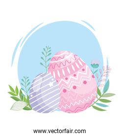 happy easter pink and purple eggs decoration foliage