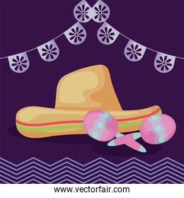 Mexican hat and maracas with banner pennant vector design