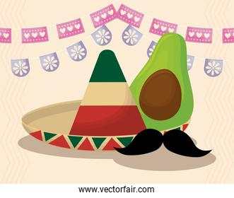 Mexican hat and avocado with banner pennant vector design