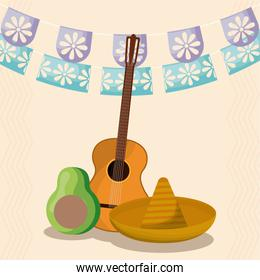 Mexican hat avocado and guitar with banner pennant vector design