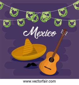 Mexican hat and guitar with banner pennant vector design