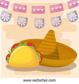 Mexican hat and taco with banner pennant vector design