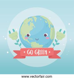 world plug plants environment ecology cartoon design