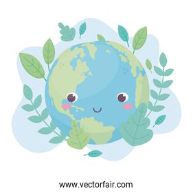 world leaves foliage environment ecology cartoon design