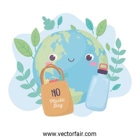 world shopping bag and bottle environment ecology cartoon design