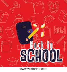 back to school poster with wallet and pencil