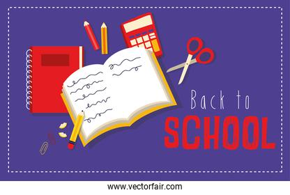 back to school poster with book and supplies