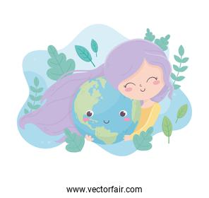 cute girl hugs world cartoon foliage environment ecology