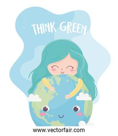 cute girl world think green environment ecology