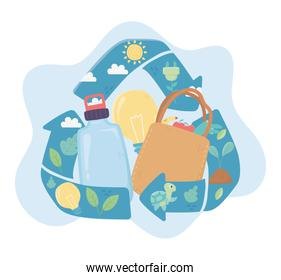 recycle shopping bag bottle and light bulb environment ecology