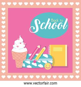 back to school poster with ice cream and supplies