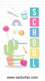 back to school poster with cactu and supplies