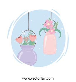 mason jars glass with flowers hanging decoration rustic