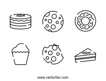 Sweet food line style icon set vector design
