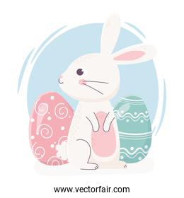 happy easter cute rabbit looking side with eggs decoration celebration