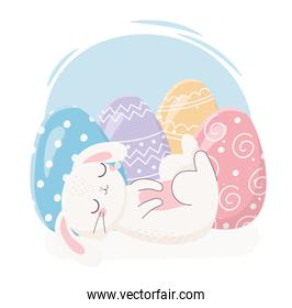 happy easter sleeping rabbit with eggs decoration celebration
