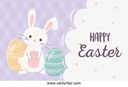 happy easter lettering rabbit with eggs decoration celebration