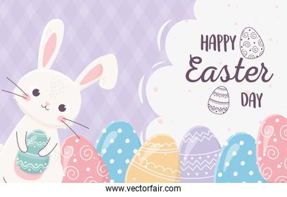 happy easter cute rabbit with eggs decoration ornament
